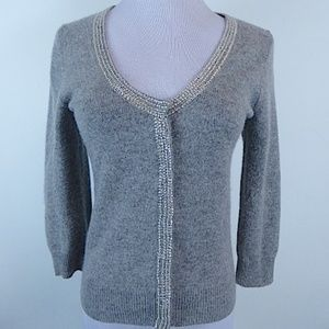 J CREW COLLECTION CASHMERE CRYSTAL V CARDIGAN S